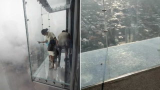 Glass skydeck 103 floors high cracks under visitors' feet