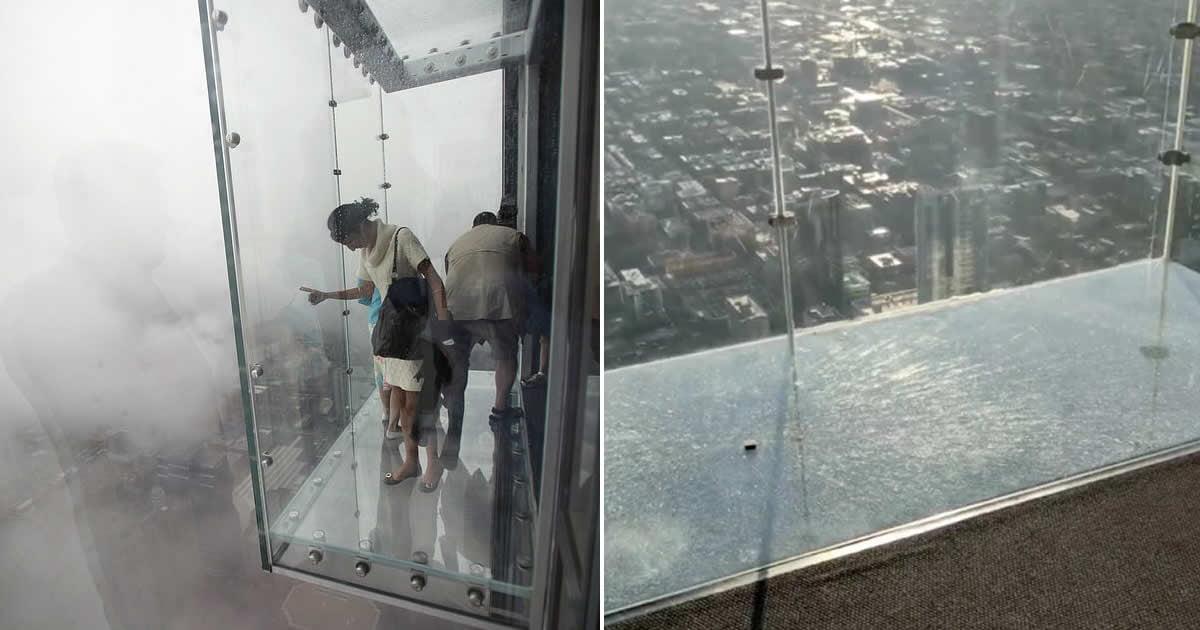 Glass skydeck 103 floors high cracks under visitors' feet