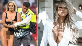 Model streaks at Champions League to advertise boyfriend's adult website