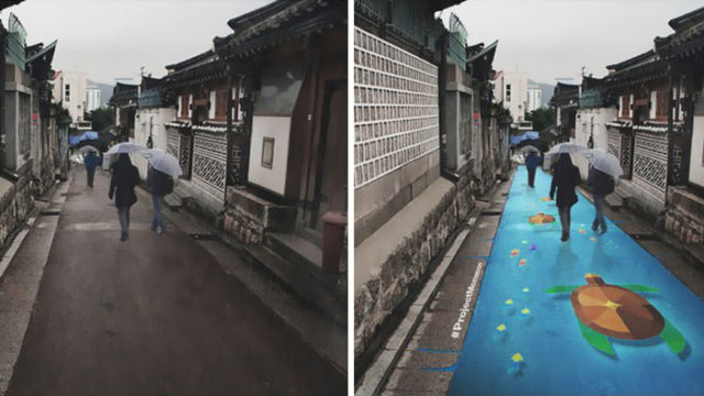 These water-activated street murals come alive when it rains
