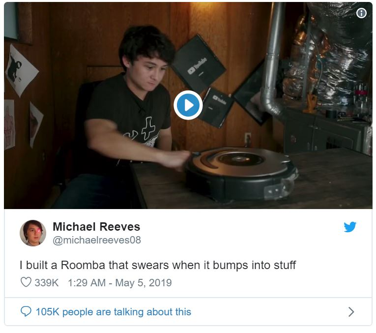 hacked roomba robot screams in pain