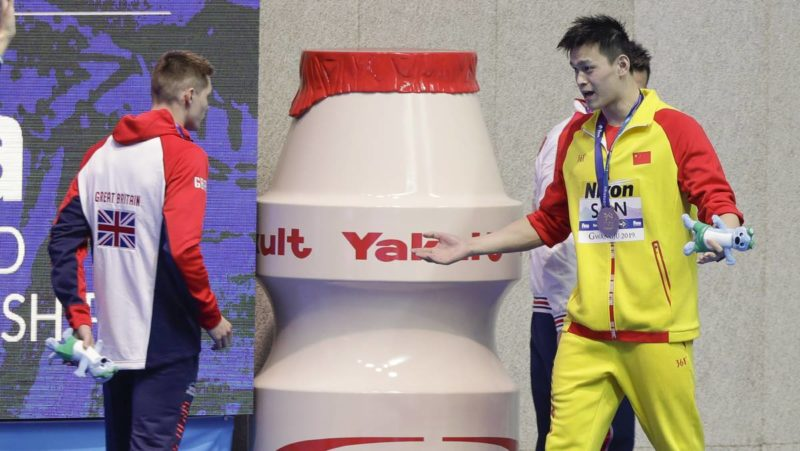 Swimmer Sun Yang chucks a tanny after another podium protest against drug cheating
