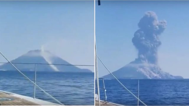 Bloke captures huge volcano eruption from his nearby sailboat
