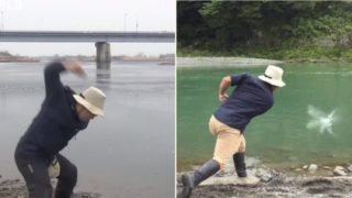 Check out this bloke's expert-level rock-skipping technique