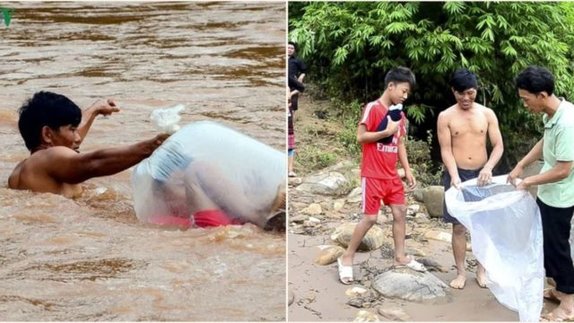 Children in Vietnam have a novel way of getting across river to go to school