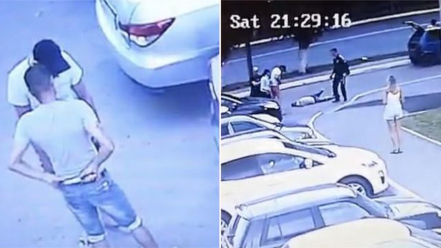 Bloke gets stabbed in the guts but still manages to knock out his attacker