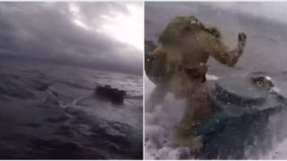 Coastguard jumps onto moving submarine filled with $500 million worth of drugs