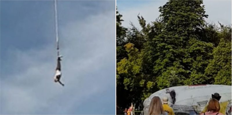 Bloke falls after bungee harness snaps in Poland