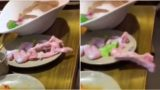 Video of raw meat wiggling it's way off the table is freaking people out