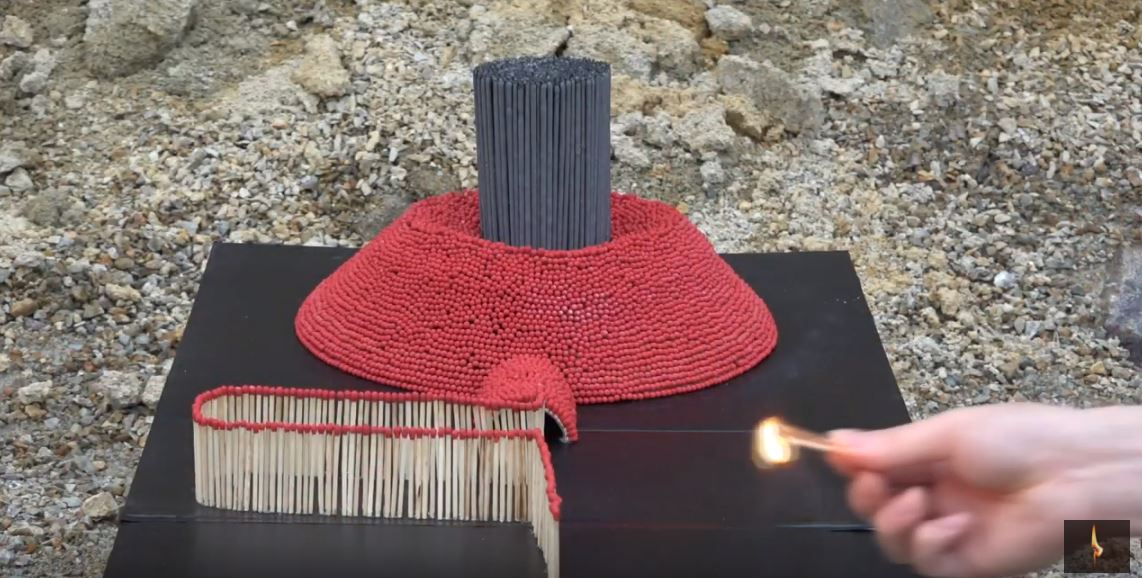 Bloke creates 'volcano' out of 16,000 matches and the result is bloody mint