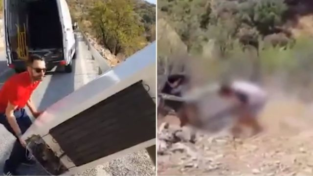 Bloke throws fridge down cliff before cops make him go and get it