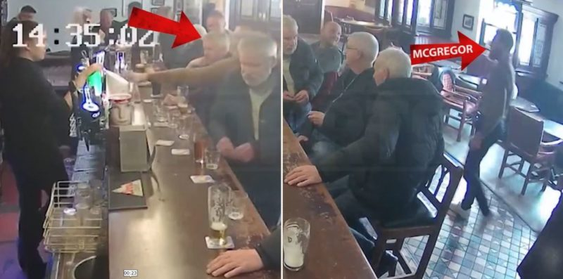 Old bloke barely flinches as Conor McGregor punches him for refusing to drink his whiskey