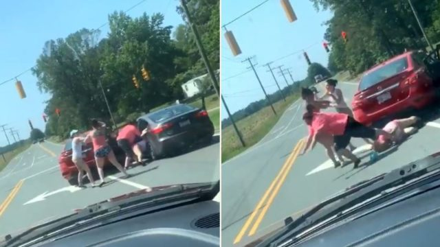 North Carolina intersection plays host to an all female Royal Rumble