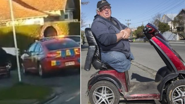 Mobility scooter hoons past police car during slow pursuit