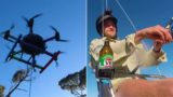 Aviation authorities are investigating this bloke for fishing from his drone