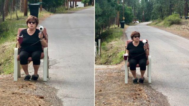 Grandma slows down speeding drivers with her hairdryer 'speed gun'
