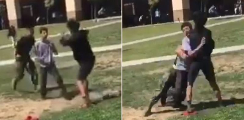 Marine breaks up fight between students with flying spear tackle
