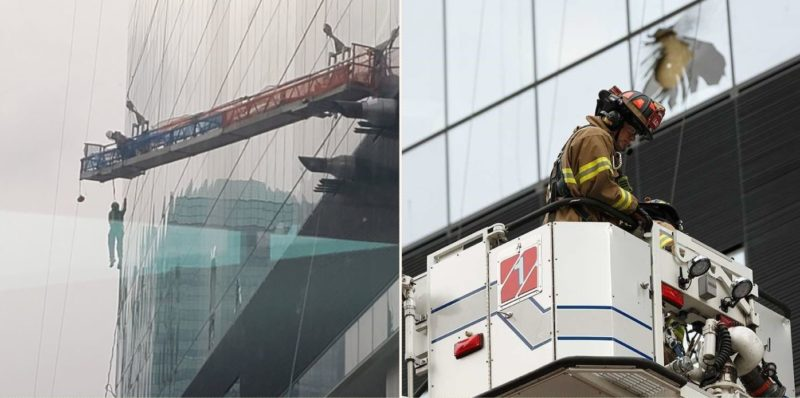 High-rise workers swinging like theme park ride in high winds