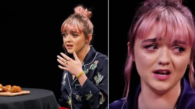 Maisie Williams shivers uncontrollably while eating hot wings and talking Game Of Thrones