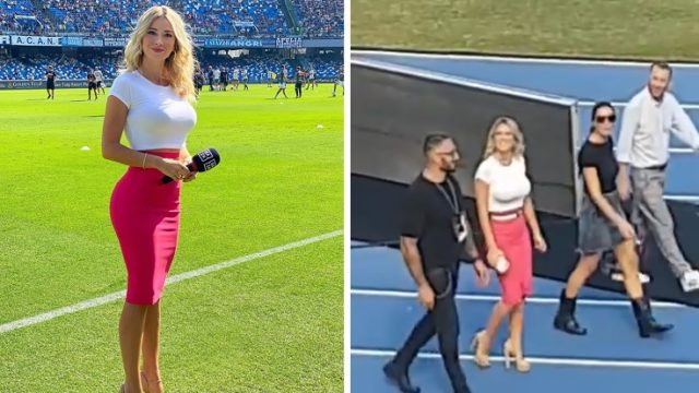 Italian Reporter silences entire crowd of soccers fans yelling at her to take her boobs out