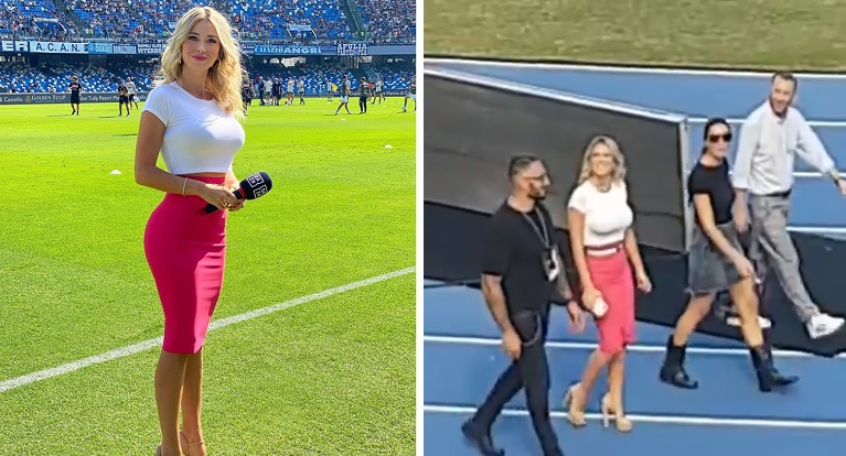 Italian Reporter silences entire crowd of soccers fans yelling at her to get the jugs out
