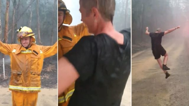 Aussie firefighters break into dance after rain falls onto bushfire area