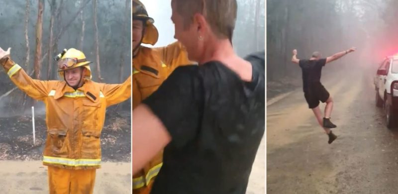 Aussie firefighters break into dance after rain falls onto bushfire area