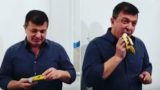 'Starving artist' plucks $120,000 banana from Art Basel gallery and eats it
