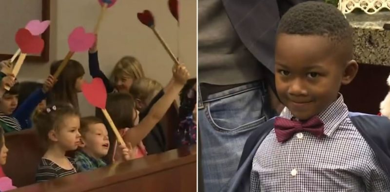 This little legend brought his whole kindergarten class to adoption hearing