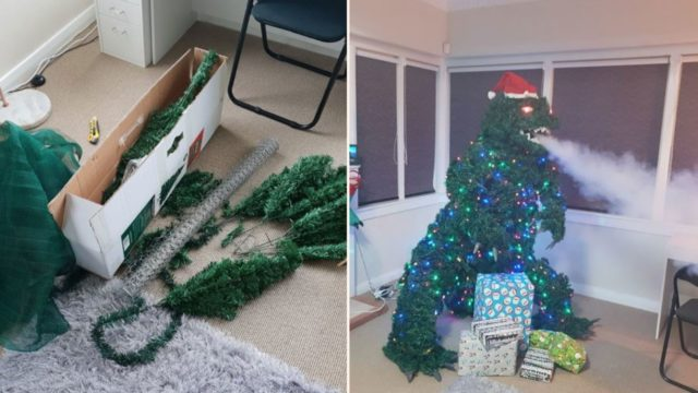 This bloke created a smoke breathing Godzilla Christmas tree