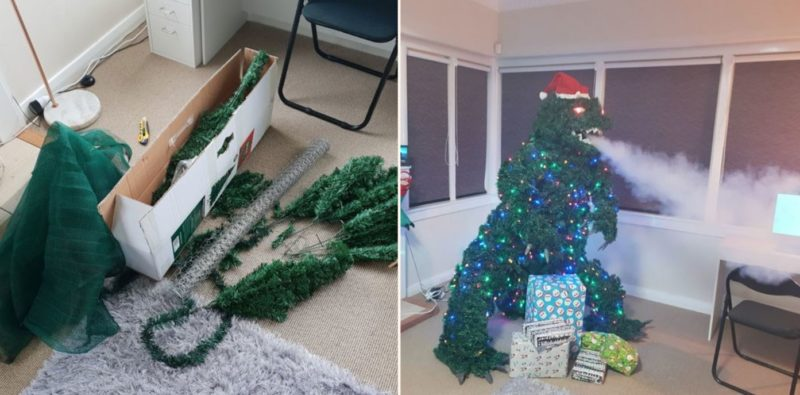 This bloke created a smoke breathing Godzilla Christmas tree