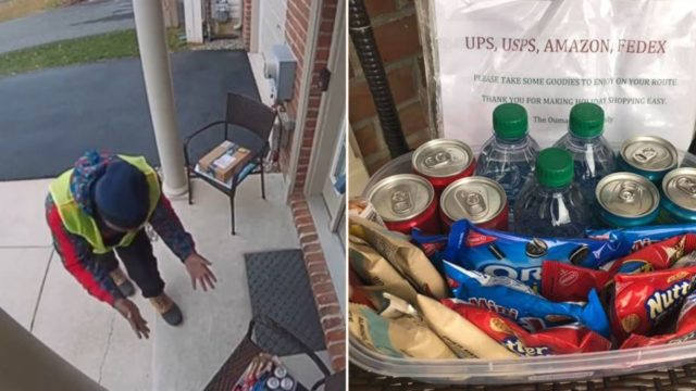 Delivery Driver's reaction to free holiday season snacks is gold!