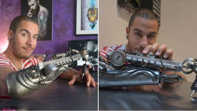 This tattoo-artist has a steampunk tattoo-gun prosthesis