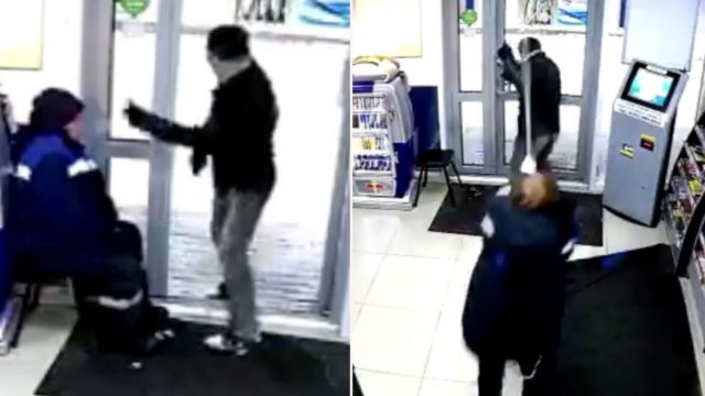 Russian gas station attendant fights off armed robber with her mop