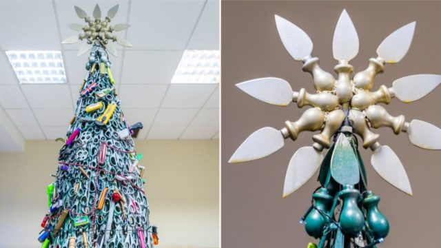 A Lithuanian Airport made a bloody big Christmas Tree entirely of confiscated items