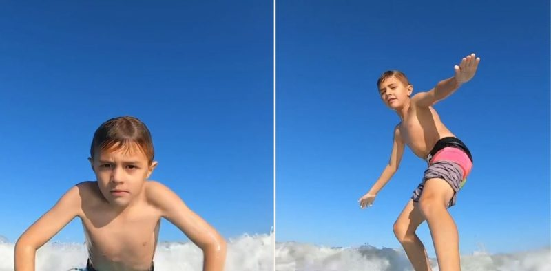 GoPro catches moment shark knocks 7-year-old boy from his surfboard