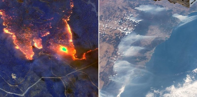 Incredible infrared pictures taken from space show how badly Australia is burning