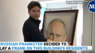 Russian Prankster hangs a portrait of Putin up in elevator to see the reactions