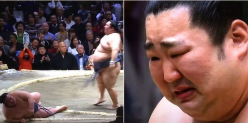 Bottom-ranked Sumo underdog bursts into teas as he wins championship title