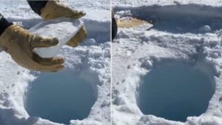 Viral video shows what happens when dropping ice down a super deep hole