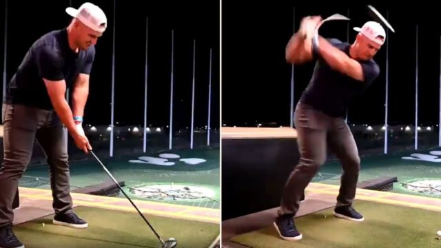The richest player in Baseball history just sent a golf ball into f*@#en orbit!
