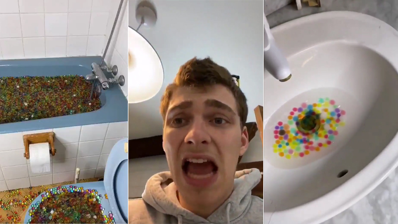 YouTuber blocks neighbourhood drain system after emptying bath full of orbeez