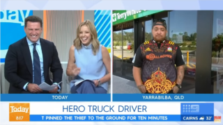 Hero truck driver who stopped robbery leaves TV presenters in stitches during his interview