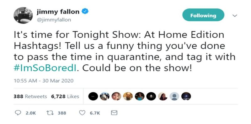 Twitter responds to Jimmy Fallon asking what they're doing while in quarantine