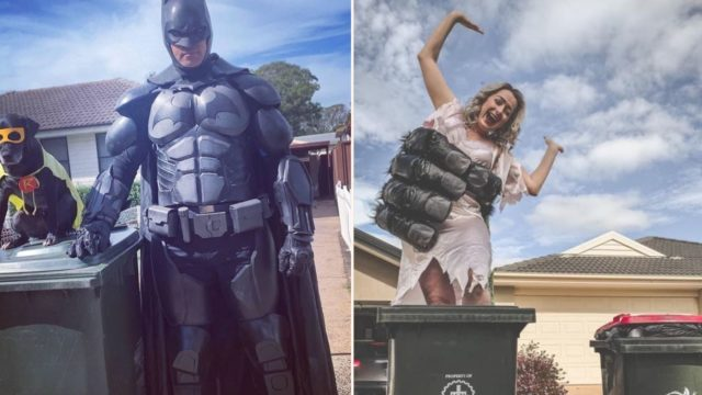 People are now dressing up to celebrate taking the rubbish bins out every week