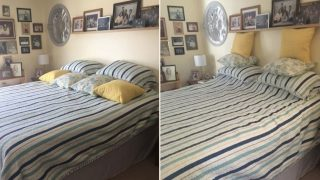 Wife documents husband's attempts to make the bed after doing it herself for 45 years