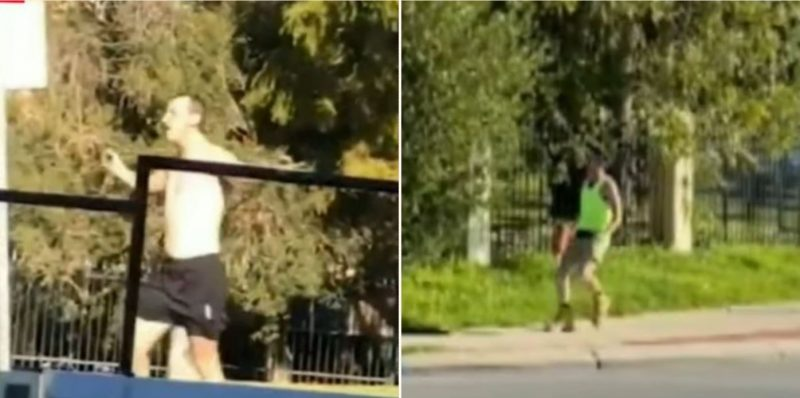 Hectic rumble sees shirtless bloke take on a tradie with a nailgun