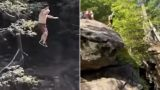 "73 year old Grandpa with ""do not give a f*@k"" attitude attempts ridiculous cliff jumps"