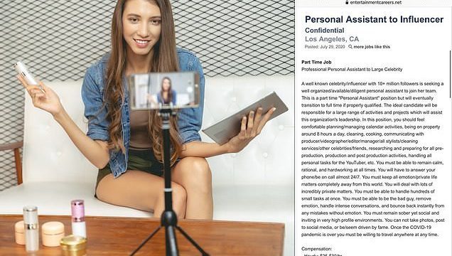 Insane job description for influencer's personal assistant goes viral