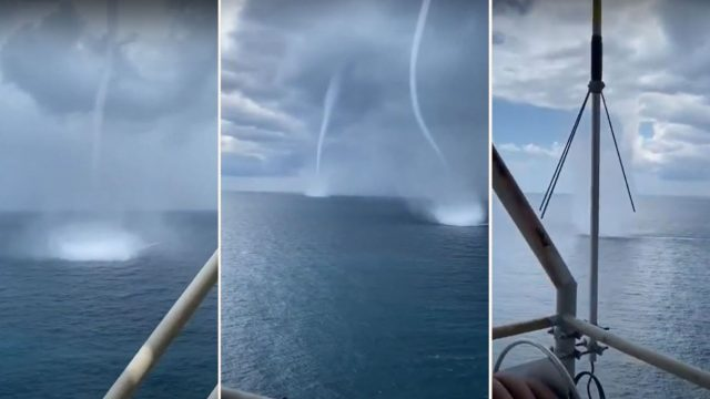 Epic triplet waterspouts have been caught on film